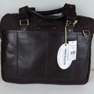 Tommy Bahama Tobago Leather Canvas Briefcase Bag